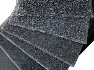 six pieces of activated carbon foam with different pore size on the white background
