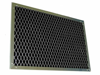 A piece of activated carbon filter panel with expanded metal mesh support mesh.