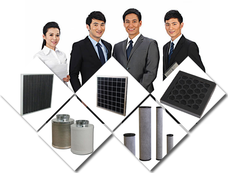 Four main activated carbon filter products and a working machine.