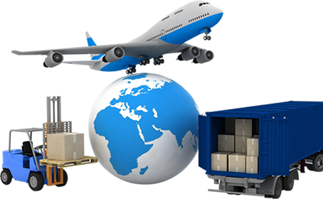 A plane, a container, a forklift, and a global on the white background.