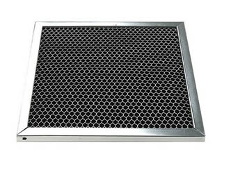 A piece of honeycomb carbon filter with galvanized frame on the white background.