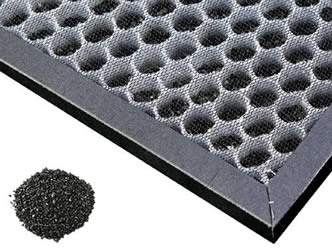 A piece of honeycomb carbon filter is filled with irregular activated carbon.