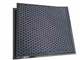 Two pieces of honeycomb carbon filter with plastic based honeycomb.