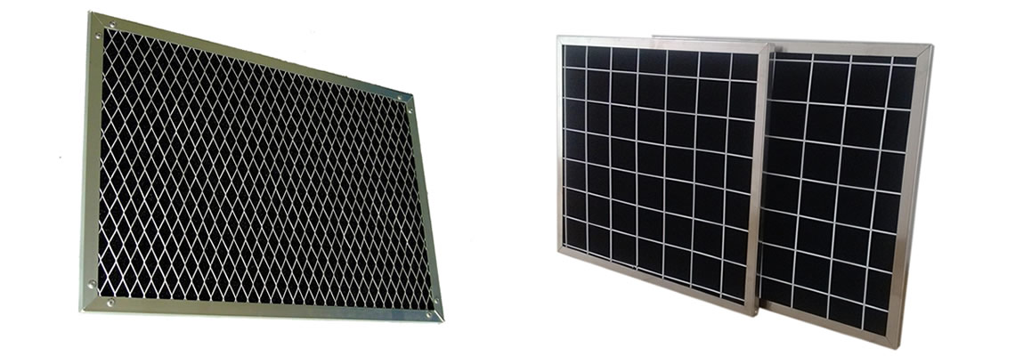 Two pieces of activated carbon filters with welded wire mesh support mesh and galvanized frames.