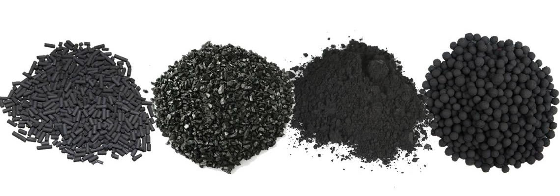 Four mounds of activated carbons with columnar, irregular, powder and ball shapes.