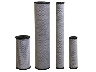Four pieces of impregnated cellulose carbon filter cartridge with different sizes.
