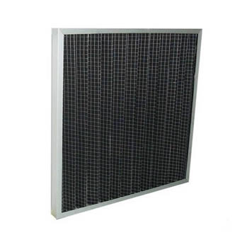 A piece of pleated carbon filter with aluminum frame on the white background.