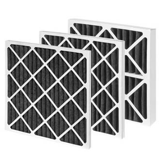 Three pieces of pleated carbon filters with paperboard frame on the white background.