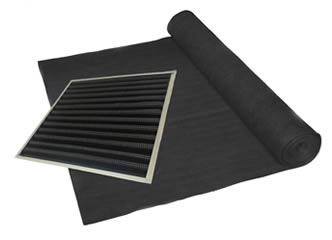 A roll of activated carbon fiber felts and a piece of pleated carbon filter.
